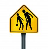 stock photo of delinquency  - Bullying concept as a yellow traffic sign with an abusive bully attacking a smaller defenseless person as a symbol of the anxiety of being bullied and the social issues of human psychological abuse and fear isolated on white - JPG