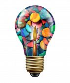 pic of masterpiece  - Art ideas and creative expression concept as a group of paints and paintbrush shaped as a lightbulb icon as a metaphor for artistic crafts imagination and freedom to create colorful masterpieces isolated on white - JPG