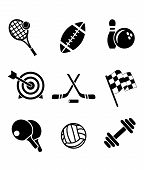 stock photo of archery  - Black and white sporting icons depicting tennis - JPG