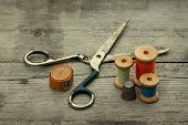 stock photo of sewing  - Vintage Background with sewing tools - JPG