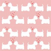 picture of westie  - Seamless pattern with cartoon dogs silhouettes on polka dot background - JPG