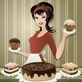 image of confectioners  - Illustration with joyful pretty confectioner with cakes in her hands drawn in vintage style - JPG