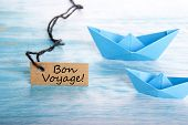 picture of bon voyage  - The French Words Bon Voyage on a Label which means Safe Journey - JPG
