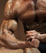 picture of clenched fist  - Clenched fists bodybuilder in contest situation (sharpness on fists).