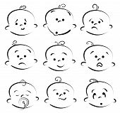 picture of baby face  - Artistic vector illustration of cartoon doodle faces - JPG
