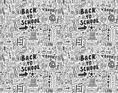 stock photo of tween  - Seamless Doodle Back To School Pattern