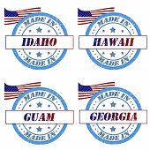 stock photo of guam  - Set of stamps made in idaho - JPG