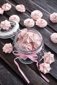 Pink Meringues In A Glass Jar