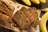 picture of fresh slice bread  - Homemade Banana Nut Bread Cut into Slices - JPG