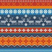 Vector Traditional Norwegian Pattern With Reindeer