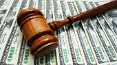 picture of court hammer  - Judges court gavel on money - JPG