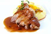 stock photo of roast duck  - Roasted duck with mashed potatoes - JPG