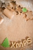 stock photo of christmas cookie  - baking and decorating christmas cookies at home - JPG