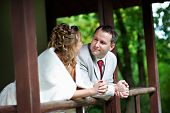 stock photo of japan girl  - Bride and groom in house of japan style in garden on wedding walk - JPG