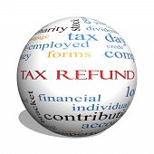 Tax Refund 3D Sphere Word Cloud Concept