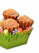 Delicious Muffins, Colorful Caramels In The Green Basket