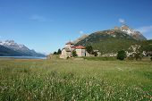 pic of engadine  - View of the lake Silvaplana and Castle - JPG