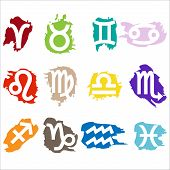 picture of pisces horoscope icon  - Set of colorful horoscope  - JPG