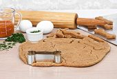 stock photo of biscuits  - Baking supplies for making homemade healthy pumpkin dog biscuits - JPG