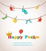 stock photo of purim  - Jewish holiday Purim greeting card design - JPG
