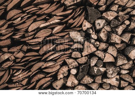 Stockpile of sawed logs