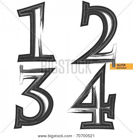 art sketched set of vector grunge character classic black fonts, uppercase symbols, figures 1, 2. 3. 4