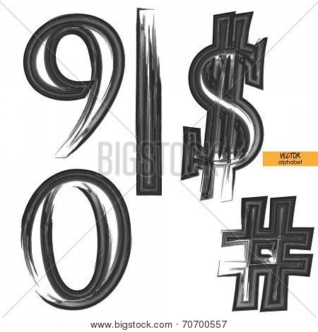 art sketched set of vector grunge character classic black fonts, uppercase symbols, figures 0, 9, signs vertical slash, $, number or hash mark