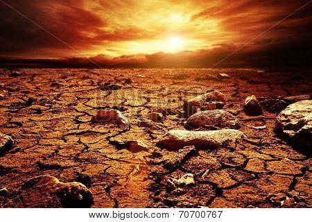 Stormy sky over desert
