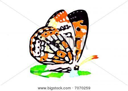 Artes populares chinos de papel cortado de la mariposa