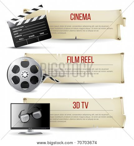 3 cinema banners in vintage style