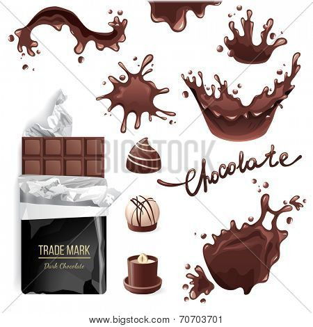 Chocolate bar, candies and splashes set