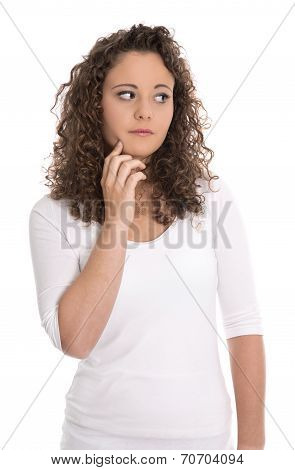 Sad And Disappointed Young Woman Over White Background.
