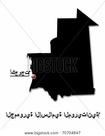 Black Map Of Islamic Republic Of Mauritania