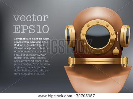 Background of Underwater diving suit helmet. Vector Illustration