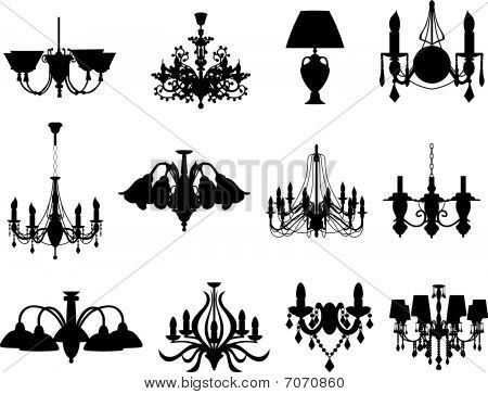 set of lamps silhouettes