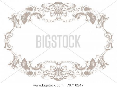 Vintage ornament background. Vector decor oval vignette