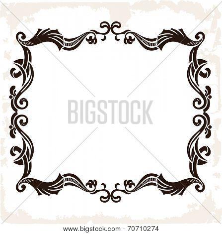 Vector vintage retro frame. Decorative background isolated