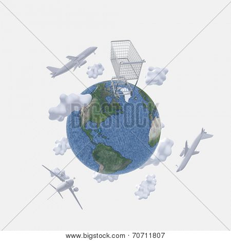 Aircraft above earth and shopping cart
