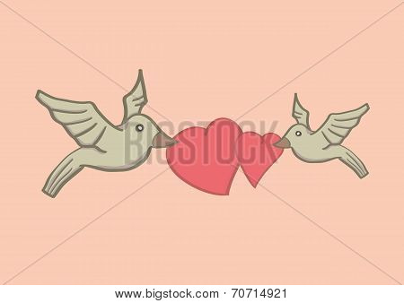 Birds With Heart Shapes For Valentines Day