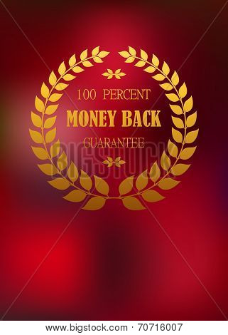 Money back emblem in wreath