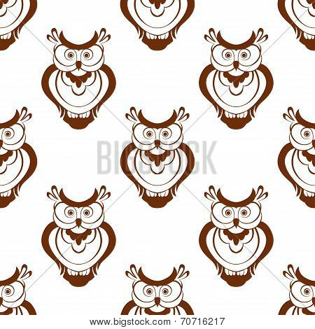 Cartoon owlet seamless pattern