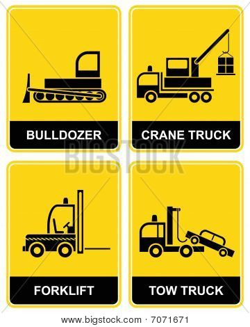 bulldozer, crane, tow truck and forklift  signs