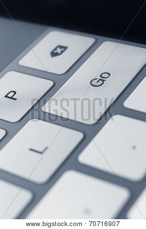 Close up view of keys of laptop keyboard. Concept of technology and peripheral devices