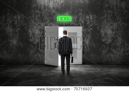 Backview of businessman with case before an open door to a brighter future. Concept of leadership and success.