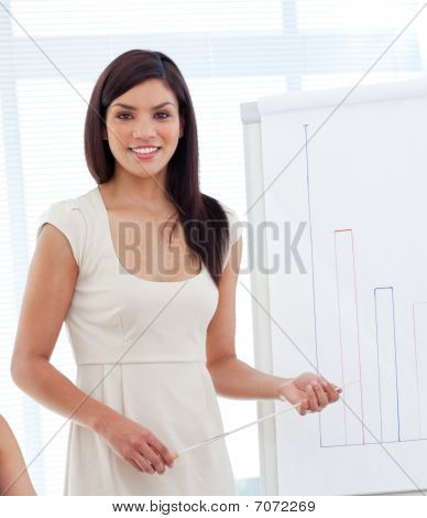 Portrait Of A Latin Woman Giving A Presentation