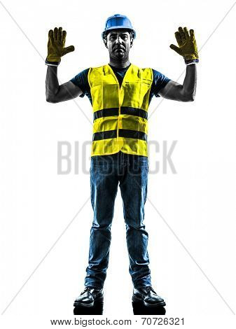 one construction worker signaling stop gesture with safety vest isolated in white background