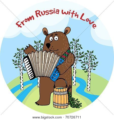 From Russia With Love vector emblem or badge
