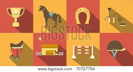 Flat Style Horse Icons