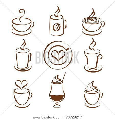 Set of coffee cup vector symbols
