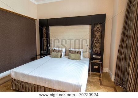 PRAGUE - MAY 9: Room in Eurostars Thalia Hotel on May 9, 2014 in Prague, Czech Republic. Eurostars Thalia Hotel is a popular tourist destination in Prague